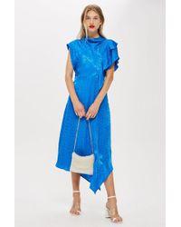 Lyst - Topshop Petite Pleat Cold Shoulder Dress in Blue 6d0c9faed