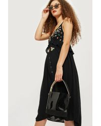 TOPSHOP - Embroidered Frill Dress - Lyst