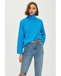 TOPSHOP - Supersoft Ribbed Roll Neck Jumper - Lyst