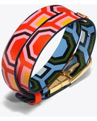 Tory Burch | Reversible Printed Double-wrap Bracelet | Lyst