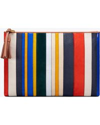 Tory Burch - Stripe Large Pouch - Lyst