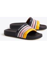 Tory Burch - Women's Striped Slide Sandals - Lyst