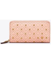 Tory Burch - Fleming Stud Zip Continental Wallet - Lyst