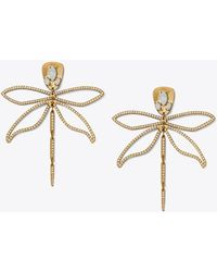 Tory Burch - Small Embellished Articulated Dragonfly Earring - Lyst