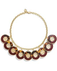 Tory Burch - Perforated Charm Resin Statement Necklace - Lyst