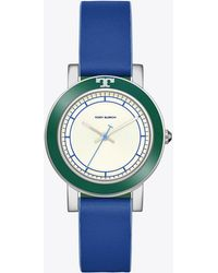 Tory Burch - Ellsworth Watch, Blue Leather/stainless Steel, 36mm - Lyst