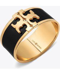Tory Burch - Enameled Raised-logo Wide Bracelet - Lyst