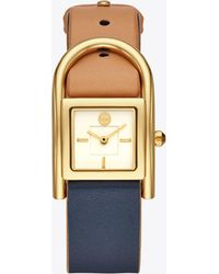 Tory Burch - Thayer Watch, Beige & Navy Leather/gold-tone, 25 X 39 Mm - Lyst