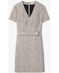 64ac5d0c57ca Tory Burch Priscilla Linen-wool Blend Dress in Gray - Lyst