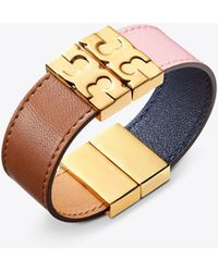 Tory Burch - Color-block Reversible Leather Bracelet - Lyst