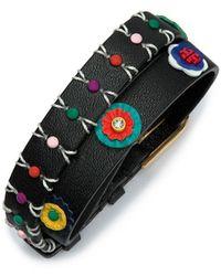 Tory Burch | Millefiori Leather Double-wrap Bracelet | Lyst