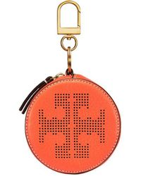 Tory Burch - Perforated-logo Circle Pouch Key Fob - Lyst