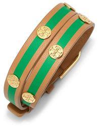 Tory Burch - Striped Double-wrap Logo Stud Bracelet - Lyst