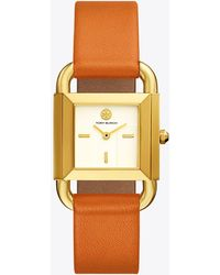 Tory Burch | Phipps Watch, Orange Leather/gold-tone, 29 X 41 Mm | Lyst