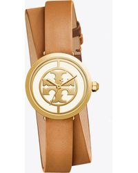 Tory Burch - Reva Leather Watch, 28mm Double Wrap Luggage/gold - Lyst