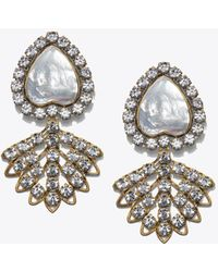 Tory Burch - Crystal Mother-of-pearl Heart Earring - Lyst