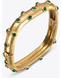 Tory Burch - Studded Stone Square Hinged Bracelet - Lyst