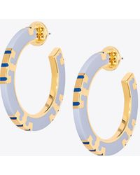 Tory Burch - T-stripe Hoop Earring - Lyst