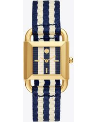 Tory Burch - Phipps Navy Blue - And - Ivory Stripe Dial Watch - Lyst