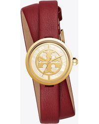Tory Burch - Reva Double-wrap Watch, Red Leather/gold-tone, 29 Mm - Lyst