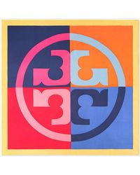 Tory Burch - Color-block Logo Silk Square Scarf - Lyst