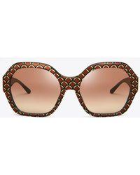 Tory Burch - Patterned Serif-t Sunglasses - Lyst