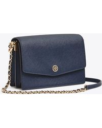 69a325190c2 Tory Burch Shoulder Bag Robinson Patchwork Mini Chain in Black - Lyst