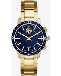 Tory Burch - Torytrack Hybrid Smartwatch, Gold-tone Stainless Steel/navy, 38mm - Lyst