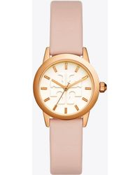Tory Burch - Gigi Watch, Blush Leather/rose Gold-tone, 28 Mm - Lyst