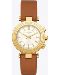 Tory Burch - Classic T Hybrid Smartwatch, Gold-tone/cream 36 X 46 Mm - Lyst
