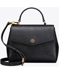 Tory Burch - Robinson Small Top-handle Satchel In Black Calfskin - Lyst