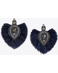 Tory Burch - Embellished Feather Earring - Lyst