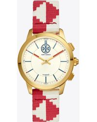 Tory Burch - Torytrack Hybrid Smartwatch, Red/ivory/luggage/gold-tone, 38mm - Lyst