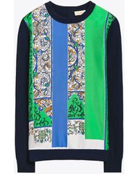 Tory Burch - Woven-front Crewneck Sweater - Lyst