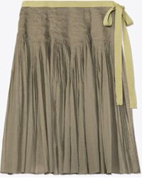 Tory Burch - Pleated Cotton Wrap Skirt - Lyst