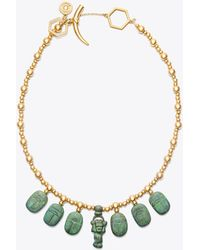Tory Burch - Scarab Charm Necklace - Lyst