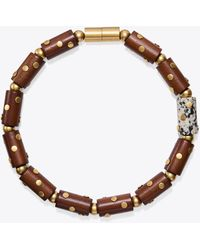 Tory Burch - Studded Wood & Stone Necklace - Lyst