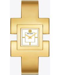 Tory Burch - T Bangle Watch, Gold-tone/cream, 25 Mm - Lyst