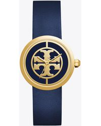 Tory Burch - Reva Watch, Navy Leather/gold-tone, 36 Mm - Lyst