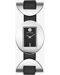 Tory Burch - Jacques Watch, Black Leather, Stainless Steel, 28 X 33 Mm - Lyst
