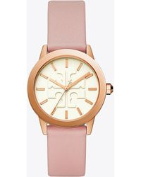 Tory Burch - Gigi Watch, Pink Leather/rose Gold Tone, 36 X 42 Mm - Lyst