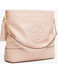 454f0435aa2e Lyst - Tory Burch Studded Hobo in Brown