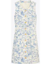 Tory Burch - Printed Linen Shift Dress - Lyst