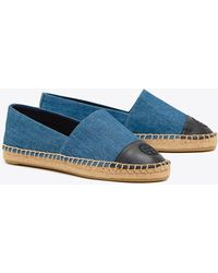 Tory Burch - Women's Denim Colour - Block Cap Toe Espadrilles - Lyst