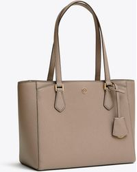8fa2a978d0a3 Lyst - Tory Burch Robinson Large Zip Tote in Brown