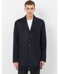Cmmn Swdn - Navy Adrian Fringed Double-faced Coat - Lyst