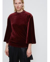 Toga - Dark Red Velour Bell Sleeve T-shirt - Lyst