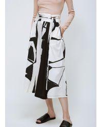 Black Crane | Cream / Black Print Origami Culotte | Lyst