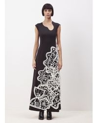 Xiao Li - Black Long Dress With Special Neck Line And Lace Details - Lyst