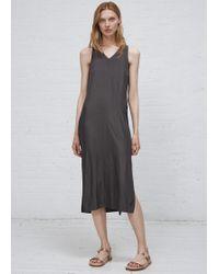 Grei. - Charcoal Vneck Side Panel Dress - Lyst
